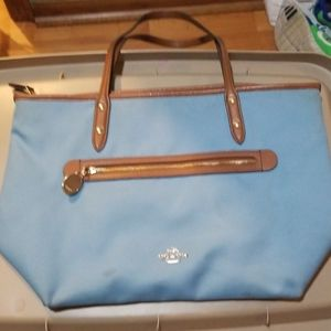 Coach  blue canvas tote purse